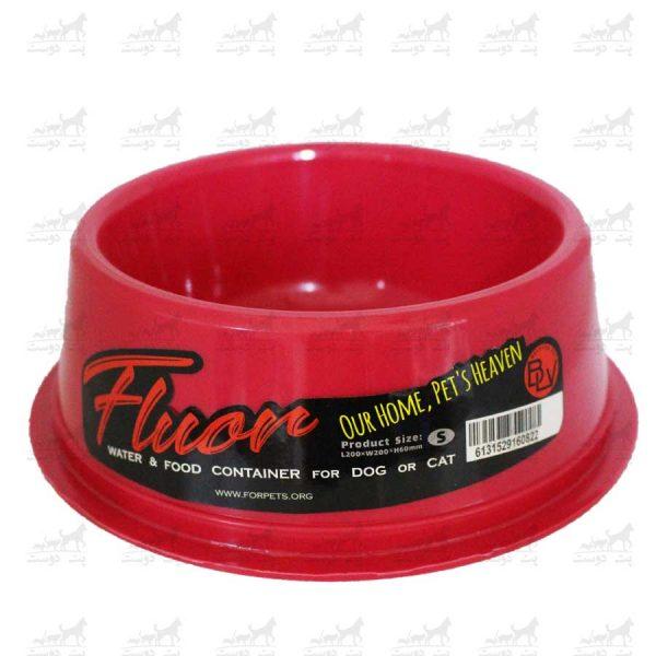 ظرف-آب-و-غذا-مدل-فلور-کوچک-قرمز