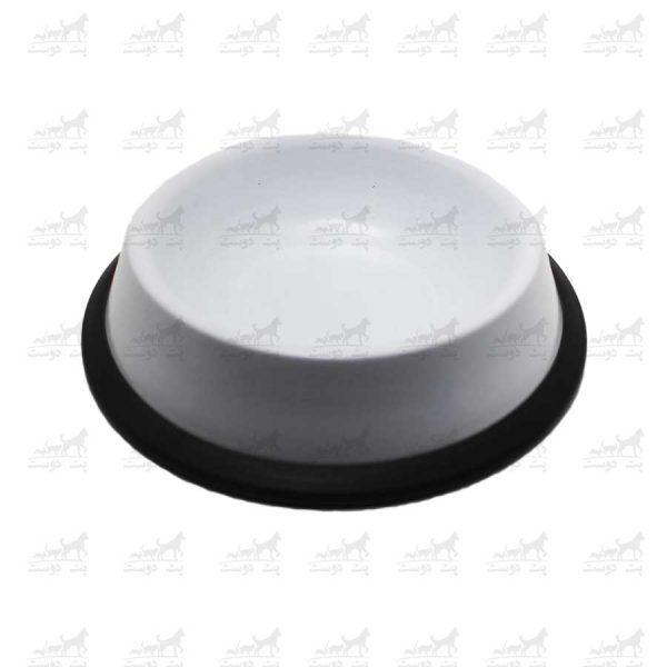 ظرف-آب-و-غذا-فلزی-با-پایه-لاستیکی-کد-1315ظرف-آب-و-غذا-فلزی-با-پایه-لاستیکی-کد-1315-سفید