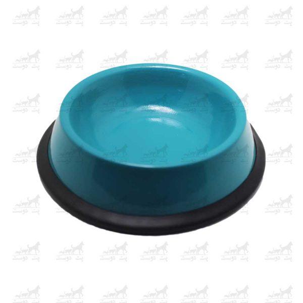 ظرف-آب-و-غذا-فلزی-با-پایه-لاستیکی-کد-1315-آبی