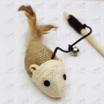اسباب بازی مخصوص گربه مدل موش دسته دار به همراه زنگوله کد 2313
