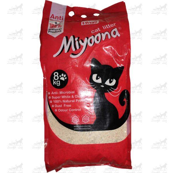خاک-بستر-گربه-آنتنی-باکتریال-بنتونیت-برند-میونا-8کیلویی-ساده
