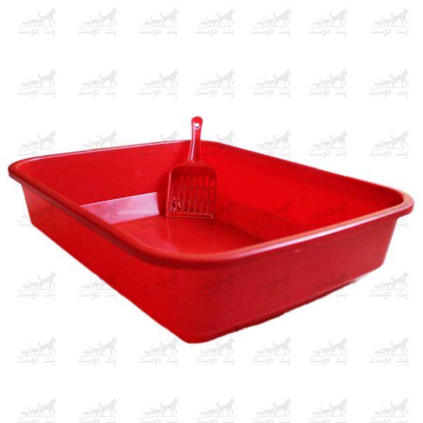 ظرف-خاک-گربه-به-همراه-بیلچه-کد-2411-قرمز