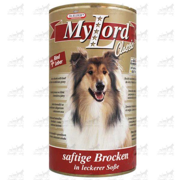 کنسرو-مخصوص-سگ-مدل-My-Lord-Classic-برند-Dr-Alders-گوشا-گوساله-و-جگر