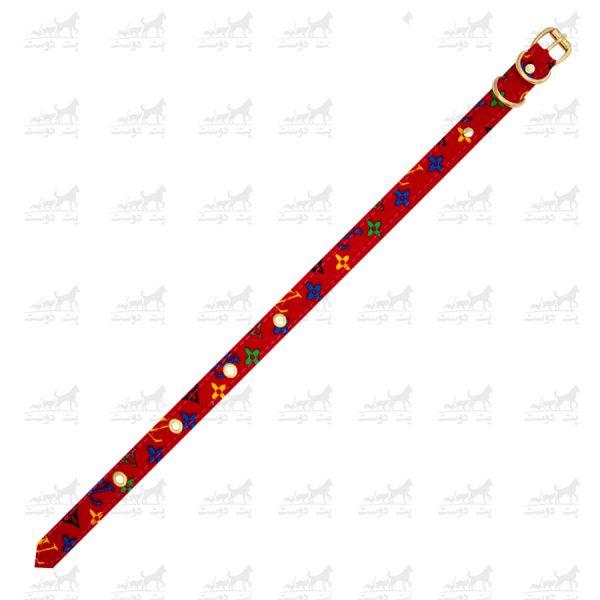 ست-قلاده-گردنی-و-لیش-طرح-LV-قرمز