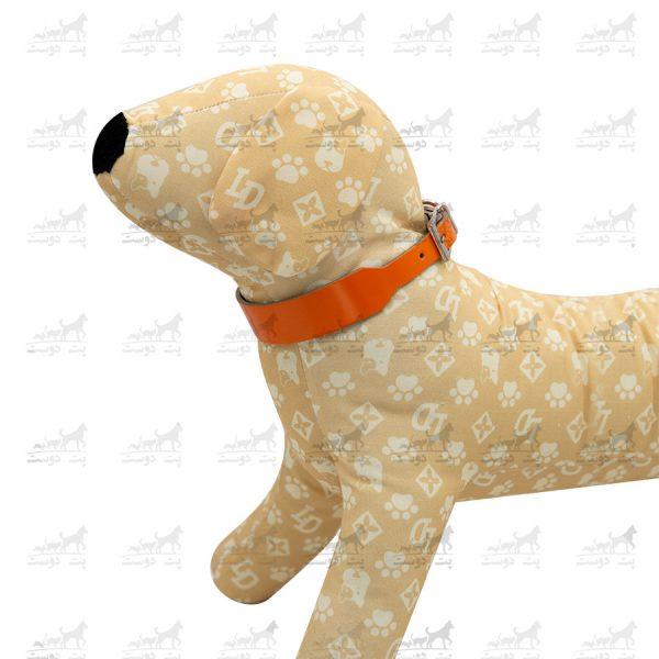 قلاده-گردنی-چرمی-مدل-جونیور-کد-1339-مانکن-نارنجی