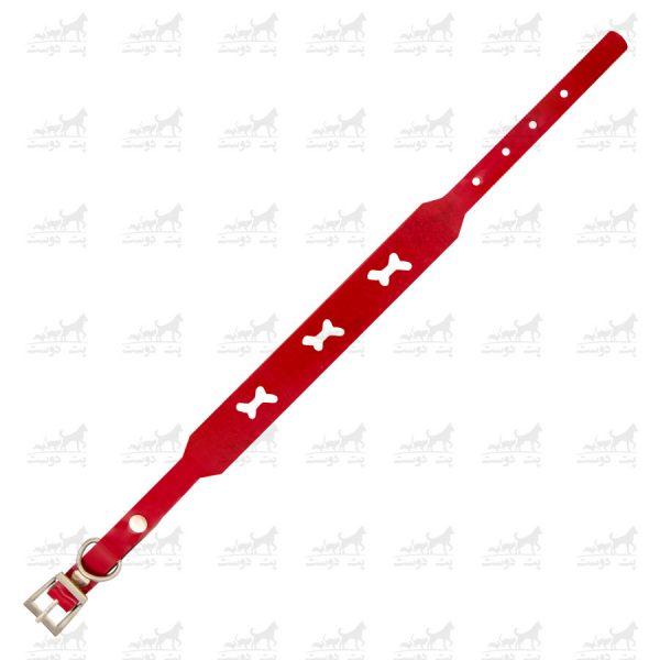 قلاده-گردنی-چرمی-طرح-استخوان-مدل-جونیور-کد-1310-قرمز3