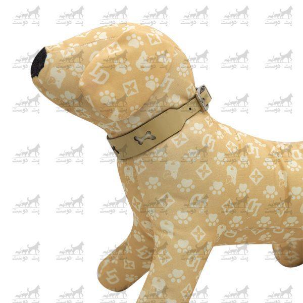 قلاده-گردنی-چرمی-طرح-استخوان-مدل-جونیور-کد-1310-کرم-مانکن