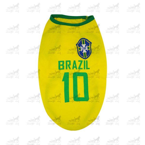 لباس-ورزشی-فوتبالی-سگ-کد1346-برزیل-رو