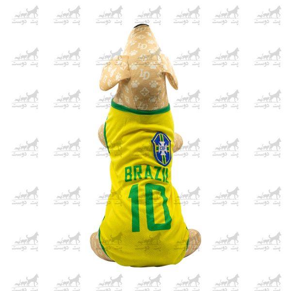 لباس-ورزشی-فوتبالی-سگ-کد1346-برزیل-مانکن2