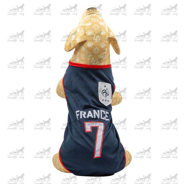 لباس-ورزشی-فوتبالی-سگ-کد1346-فرانسه-مانکن-2