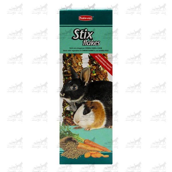 استیک-آجیل-و-میوه-مخصوص-خرگوش-و-خوکچه-مدل-Stix-Flakes-برند-Padovan